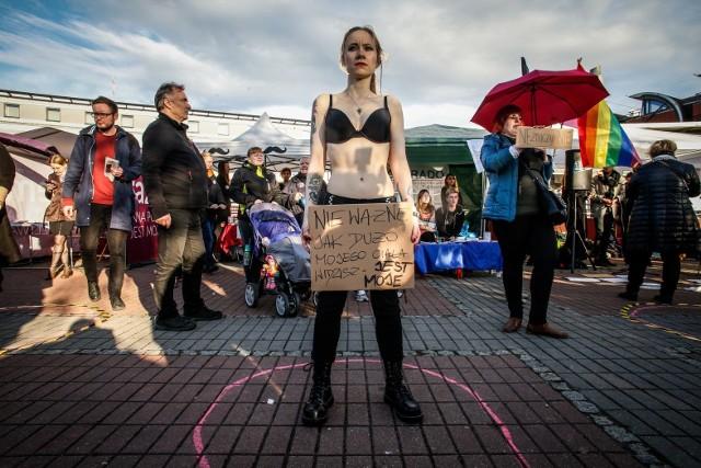 3.10.2017Gdańsk, czarny czwartek, protest feministyczny