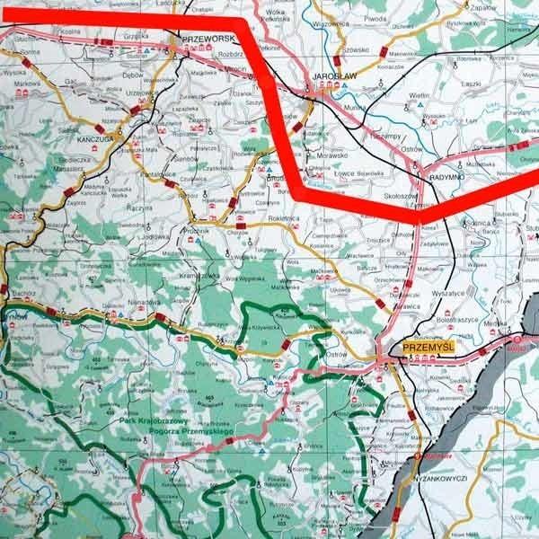 Orientacyjny przebieg autostrady A 4, na podstawie ogólnych  informacji GDDKiA.