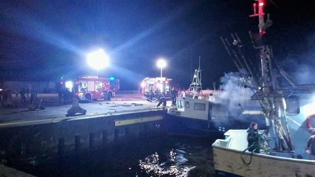 Pożar kutra z Darłowa na morzu