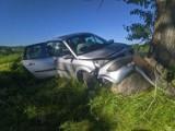 Kalinówka Kościelna. Renault wypadło z drogi i uderzyło w przydrożny kamień. Jedna osoba ranna [ZDJĘCIA]