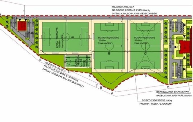 Na Krywlanach ma powstać pięć boisk pełnowymiarowych (105 na 68 metrów) i jedno wielkości Orlika (52 na 26 metrów)