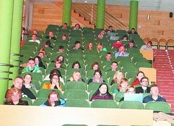 Mój pomysł, Mój biznes. Promocja konkursu na białostockich uczelniach.Spotkanie w auli WSFiZ trwało ok. 30 minut