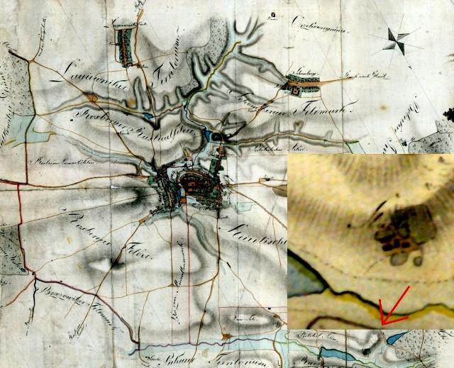 Plan okolic Bytomia z 1811 roku. U dołu zabudowania Stuoli (podobnie północ na mapie)