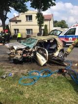 Ozorków: groźny wypadek! Zderzenie samochodów osobowych. Cztery osoby ranne, śmigłowiec LPR w akcji ZDJĘCIA
