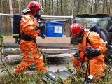 Potężny pożar lasu, pojemniki z groźną substancją. W powiecie jędrzejowskim strażacy ćwiczyli, jak gasić ogień i neutralizować chemikalia