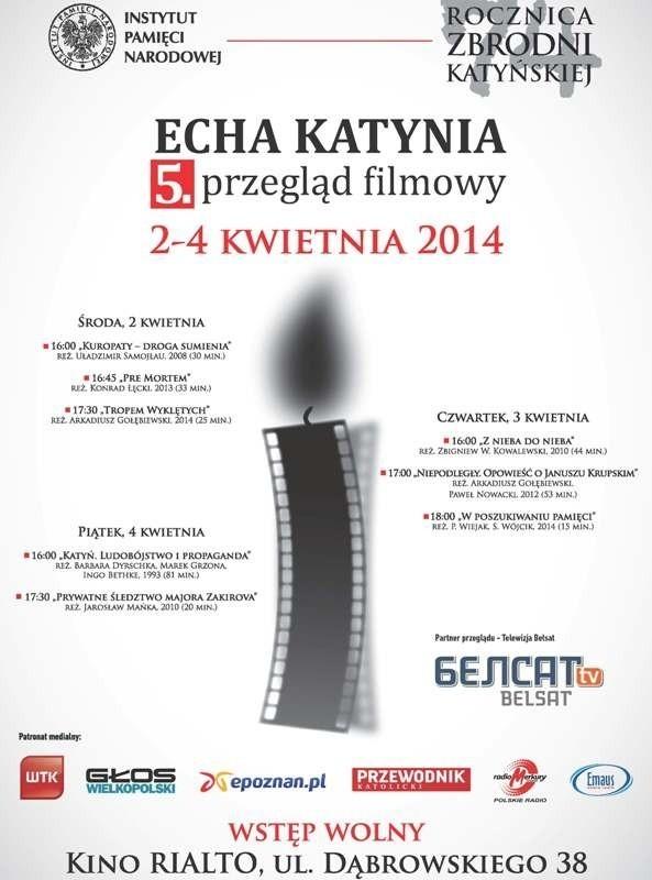 """Program przeglądu filmowego """"Echa Katynia"""" w Poznaniu"""