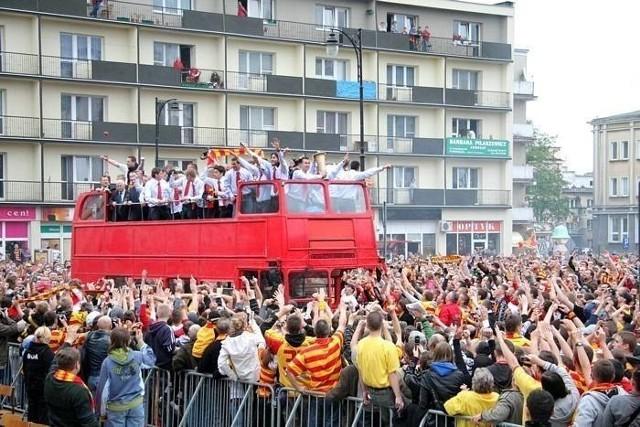 Feta z okazji zdobycia Pucharu Polski przez piłkarzy Jagiellonii Białystok
