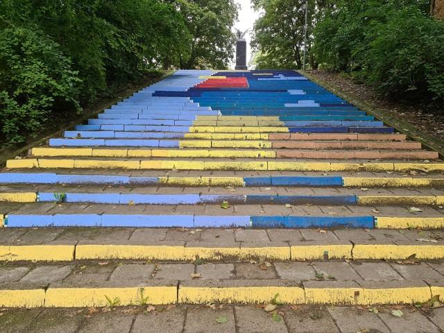 Mural zniknąć ma z parkowych schodów do końca października