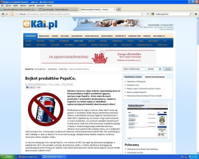 Depesza KAI na temat bojkotu PepsiCo.