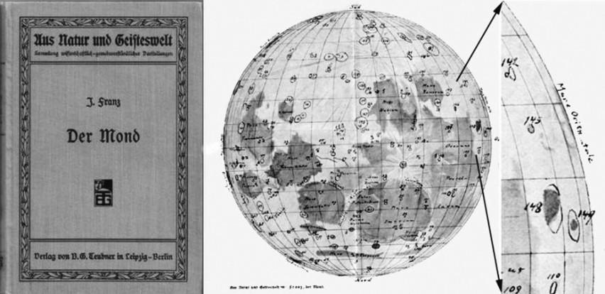 Stara niemiecka mapa księżyca z encyklopedii Meyera. Wiele z zaznaczonych na niej kraterów zostało opisanych przez miastkowianina, Juliusa Franza