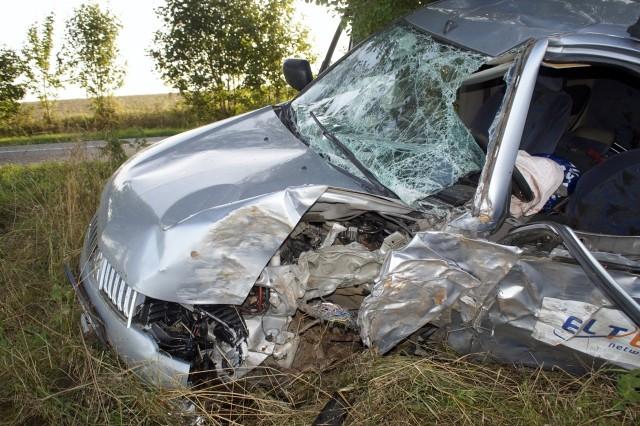 Kolizja między Słupskiem a Dębnicą Kaszubską. Kierowca Mitsubishi uderzył w drzewo