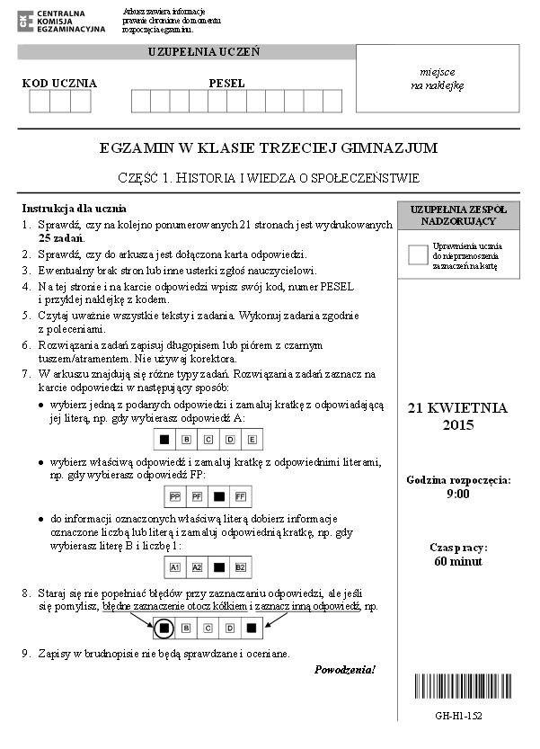 Egzamin gimnazjalny 2015 [CZ. HUMANISTYCZNA] PYTANIA + ODPOWIEDZI