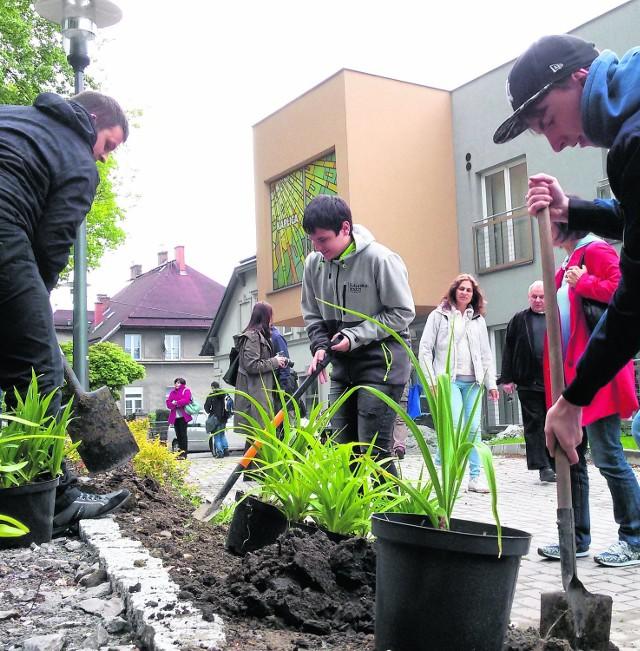 Przed budynkiem hospicjum wczoraj bielscy uczniowie zasadzili 150 roślin w ekologicznym ogrodzie