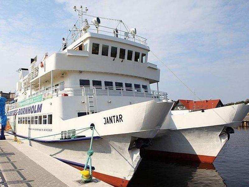 Katamaran Jantar. W wakacje będzie pływać z Ustki na Bornholm.