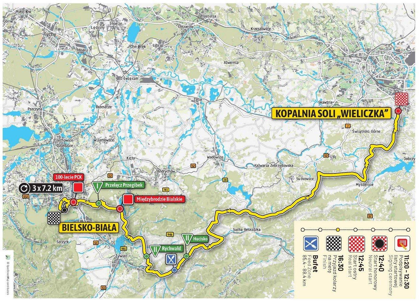 Tour De Pologne 2019 Etap 5 Wieliczka Bielsko Biala Trasa