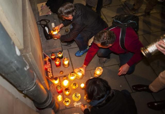 Protest pod siedzibą PiS w Krakowie