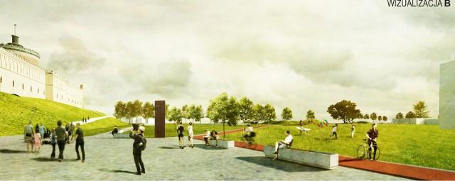 Nowe błonia pod Zamkiem. Fragment koncepcji, która zwyciężyła w konkursie architektonicznym