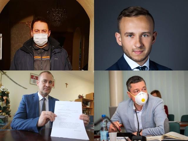Na zdjęciu: burmistrz Bodzentyna - Dariusz Skiba, wójt Sitkówki - Nowin - Sebastian Nowaczkiewicz, wójt Górna - Przemysław Łysak, wójt Miedzianej Góry - Damian Sławski.