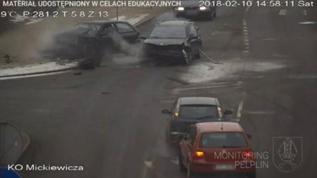 Wypadek w Pelplinie zarejestrowały kamery miejskiego monitoringu [10.02.2018]