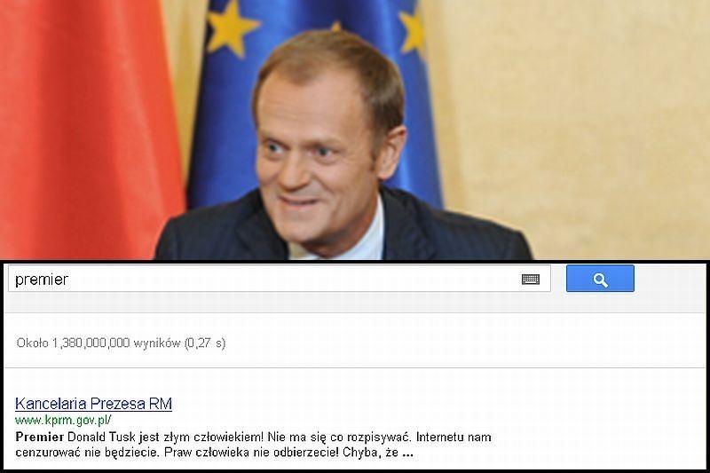 Na zdjęciu Premier Donald Tusk i zrzut Google. Wszystko w związku z wprowadzaniem ACTA.