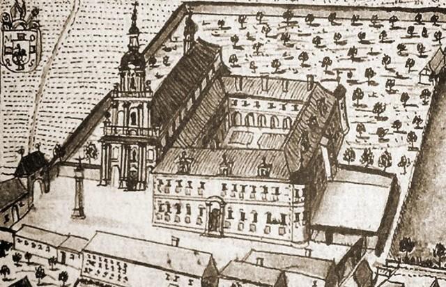 Klasztor cystersów z Jemielnicy był uwieczniany na starych rycinach. Tak prezentował się niegdyś.
