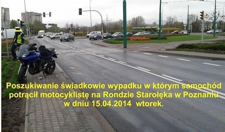 We wtorek rano na Starołęce został potrącony motocyklista. Kierowca samochodu odjechał z miejsca zdarzenia. Motocyklista na Facebooku poszukuje sprawcy