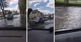 Majowe oberwanie chmury w Pucku! 17.05.2021 r. Rzeki wody na ulicach, zalane przejścia dla pieszych i chodniki ZDJECIA i FILM