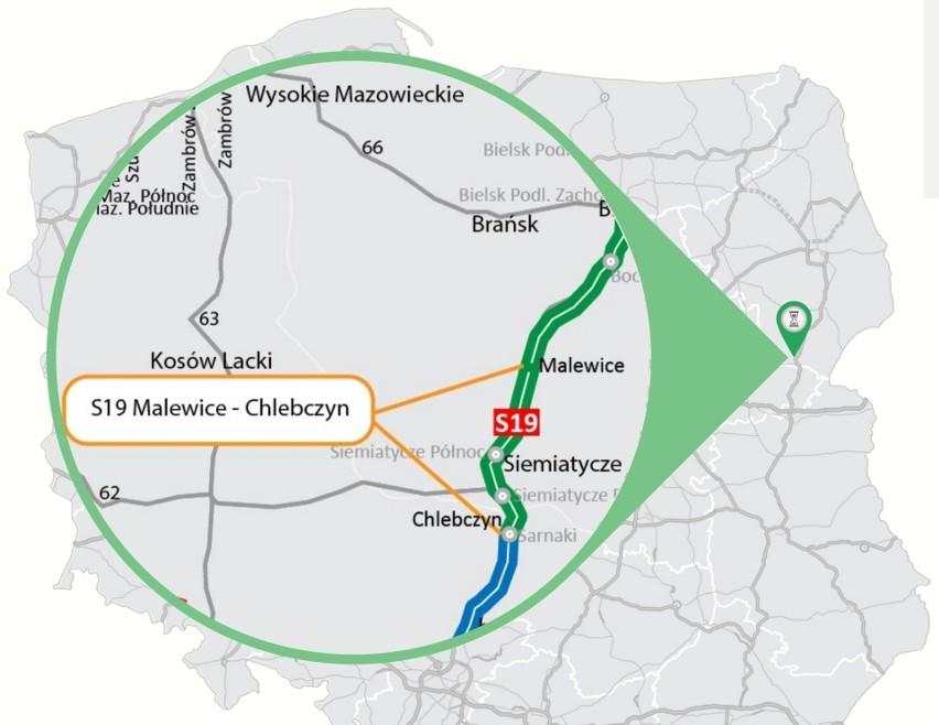 Odcinek S19 Malewice - Chlebczyn to najbardziej na południe...