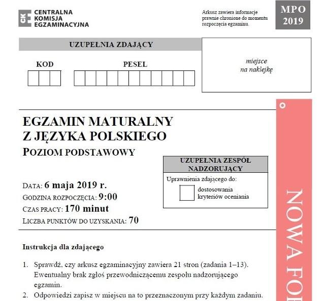 matura poprawkowa jezyk polski 2019
