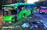 Wypadek koło Zielonej Góry. Aż 41 osób trafiło do szpitali po zderzeniu busa transportu medycznego z autobusem PKS