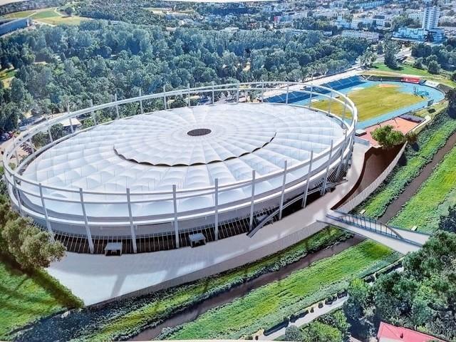 Koncepcja nowego stadionu żużlowego, który ma powstać w rejonie ul. Krochmalnej i Ciepłej (choć na wizualizacji wciąż widać go przy Al. Zygmuntowskich)