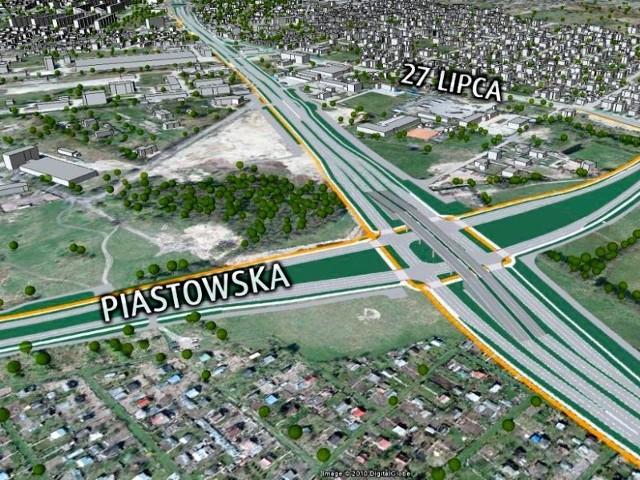 Tak ma wyglądać dwupoziomowe skrzyżowanie przedłużenia ulicy Andersa z przedłużeniem ulicy  Piastowskiej. Nowo wybudowany fragment Trasy Generalskiej będzie nosił imię gen. Nikodema Sulika
