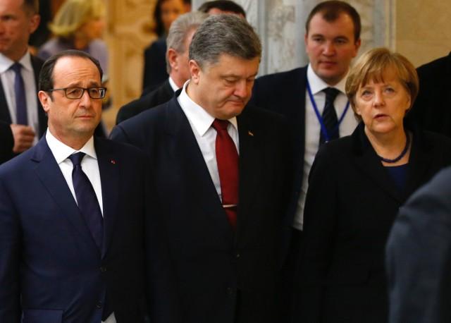 Hollande, Poroszenko i Merkel w Mińsku