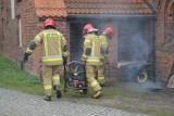 Pożar w zabytkowym Sanktuarium św. Jakuba Ap w Lęborku 6.05.2021 r. Ewakuacja wiernych. Zdjęcia