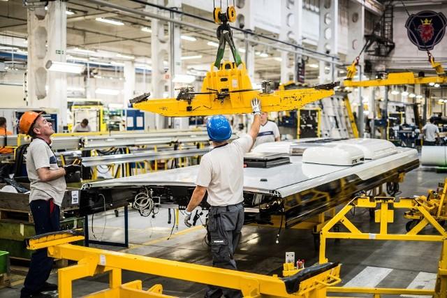 Linia produkcyjna w fabryce Scania.