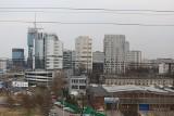 Tak widać Katowice z biurowców Face 2 Face przy Chorzowskiej i Żelaznej. Widok na Cavatinę, Sokolską, wieże Stalexportu, DTŚ. KTW