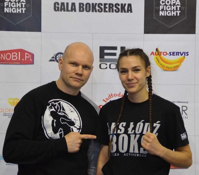 JUlia Radys i trener Grzegorz Goliński