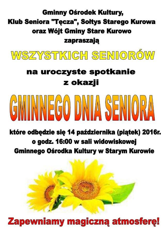 """W piątek (tj. 14 października) w Starym Kurowie odbędzie się """"Gminny Dzień Seniora""""."""