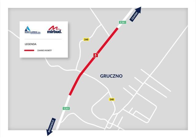 Od poniedziałku 9 listopada na S5, zwężenie drogi w Grucznie, likwidacja lewoskrętu i przeniesienie ruchu z drogi tymczasowej na docelowa we Włókach
