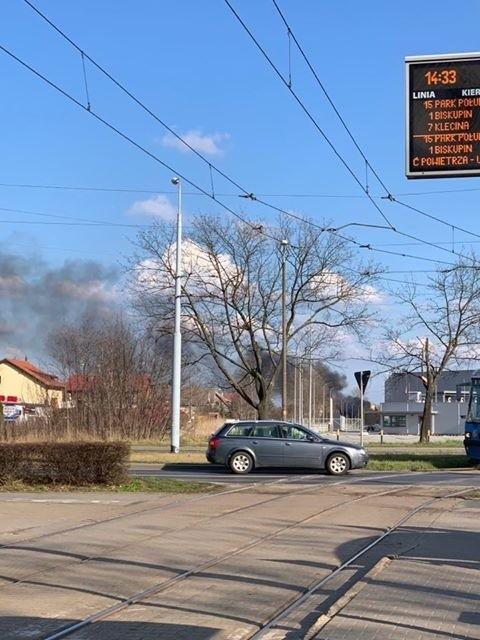 Wrocław: Pożar między ulicą Żmigrodzką, a Kamieńskiego