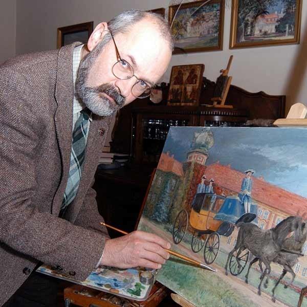 Architekt Wrzesław Żurawski w wolnych od projektowania chwilach, zajmuje się malowaniem.