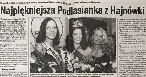 Kilka dni temu poznaliśmy Miss Podlasia 2019. Została nią Aleksandra Drężek. Cofnijmy się jednak o 20 lat. W 1999 roku najpiękniejszą kobietą woj. podlaskiego została okrzyknięta Anna Kondraciuk. Pani Ania pochodzi z Hajnówki. W związku z tegorocznymi wyborami, opublikowała na swoim Instagramie wspomnienie z momentu, kiedy to ona założyła koronę najpiękniejszej. Pogratulowała również nowemu Misterowi Podlasia 2019, który również pochodzi z Hajnówki. Przystojniakiem z regionu został Grzegorz Ginszt.