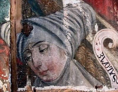 Fragment przedstawiający Marię Salome, na którym dostrzec można odcisk palca malarza lub złotnika FOT. KATARZYNA BURY