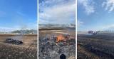 Pożar rżyska i balotów słomy w gminie Suchy Dąb. 16.08.2021 r. Strażacy od kilku godzin walczą z ogniem