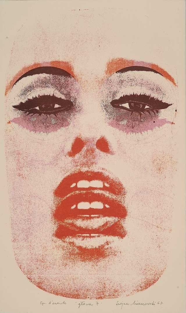 Lucjan Mianowski, Głowa 7, 1967, litografia trójbarwna pędzlem i prószem - to jedna z kilkuset prac ekspozycji, której otwarcie już jutro w MOB