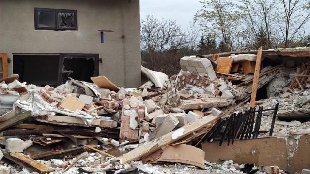 Dom zniszczony w czasie wybuchu gazu.