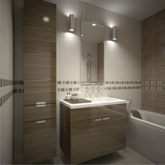 Oświetlenie łazienki - kinkiety zamontowane po obu stronach lustraOświetlenie łazienki - kinkiety zamontowane po obu stronach lustra