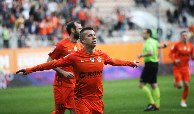 Damjan Bohar już w 5 min otworzył wynik spotkania KGHM Zagłębie Lubin - Cracovia