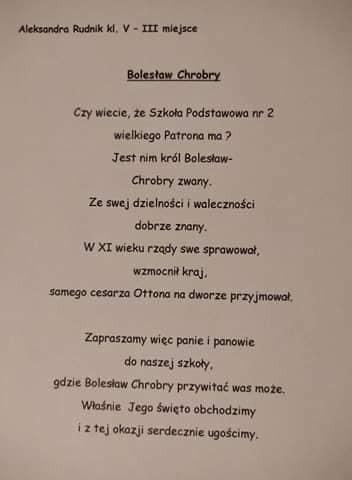 Konkursy z okazji Dnia Patrona w SP nr 2 w Miastku.