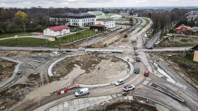 Tak postępują prace przy obwodnicy Łańcuta - zdjęcia z lotu ptaka.